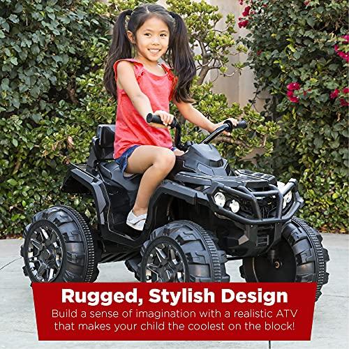 Best Choice Products 12V Kids Ride-On Electric ATV, 4-Wheeler Quad Car Toy w/ Bluetooth Audio, 3.7mph Max Speed, Treaded Tires, LED Headlights, Radio - Black