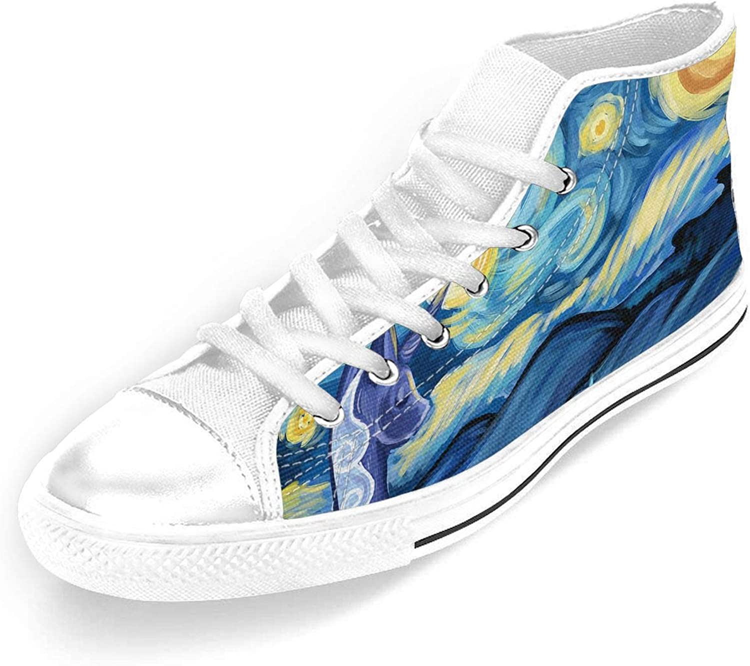 Unicorn With Starry Unisex High-Top Casual Sneakers In Classic Style And color And Durable Canvas Uppers