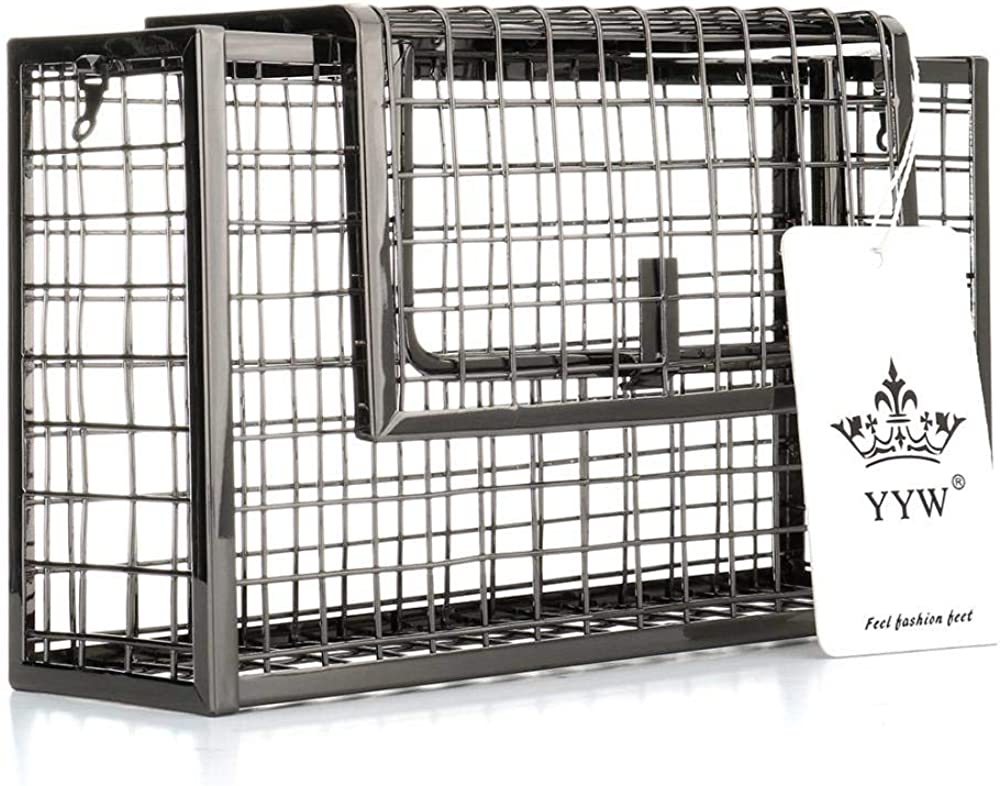 Women Square Cage Metal Evening Clutch Purse Chain Crossbody Bags Iron Cage Metal Hollow Out Cage Evening Clutch