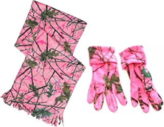 Women's Fleece Camo Scarf and Gloves Set Blazing Pink Forest