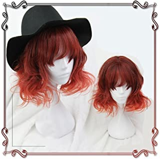 40cm Japan Harajuku Anime Fashion Lolita Natural Orange Curly Bob Wig Lace Front Korean Style Make The Face Look Smaller Hair Wigs
