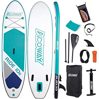 "ACOWAY Inflatable Stand Up Paddle Board,10'6"" Long 33"" Wide 6"" Thick