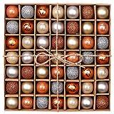 VALERY MADELYN 49 Piezas Bolas de Navidad de 3cm, Adornos Navideños para Arbol, Decoración de Bolas de Navidad Inastillable Plástico de Cobre y Dorado, Regalos de Colgantes de Navidad (Bosque)