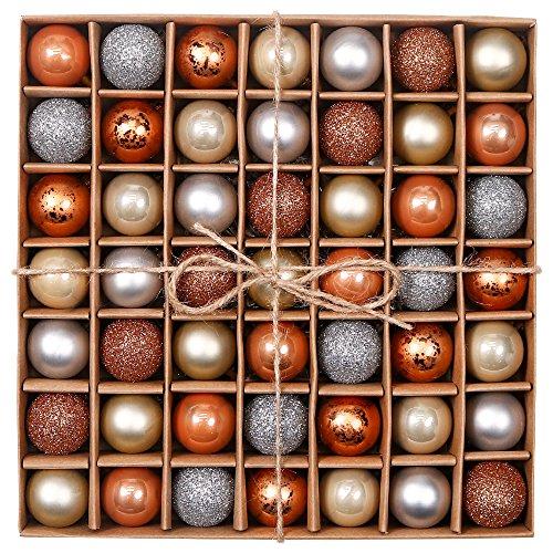 Valery Madelyn Weihnachtskugeln 49 Stücke 3CM Kunststoff Christbaumkugeln Weihnachtsdeko mit Aufhänger Glänzend Glitzernd Matt Tannenbaumschmuck Funkelnder Winter Thema Rosagold