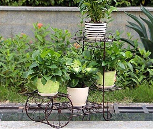 ILQ Pots de fleurs d'intérieur de plusieurs étages Pots de fleurs de radis vert radiés,65 * 68.5cm,Bronze