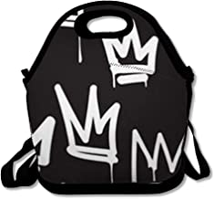 Lunch Bags for Women Men Insulated Queen Crown Tags Black White Graffiti Hand Drawing in Letter Hip Hop Street for Skateboard Abstract Lunch Tote School for Child