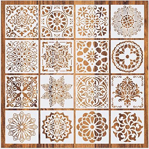 Mandala Schablone Set, 16 Stück Groß wiederverwendbare Laserschnitt Malschablone/Airbrush Vorlage,Mandala Dotting Schablonen für Wand/Stein/Holz Möbel/Malen Vorlagen Kinder(6x6 Zoll)