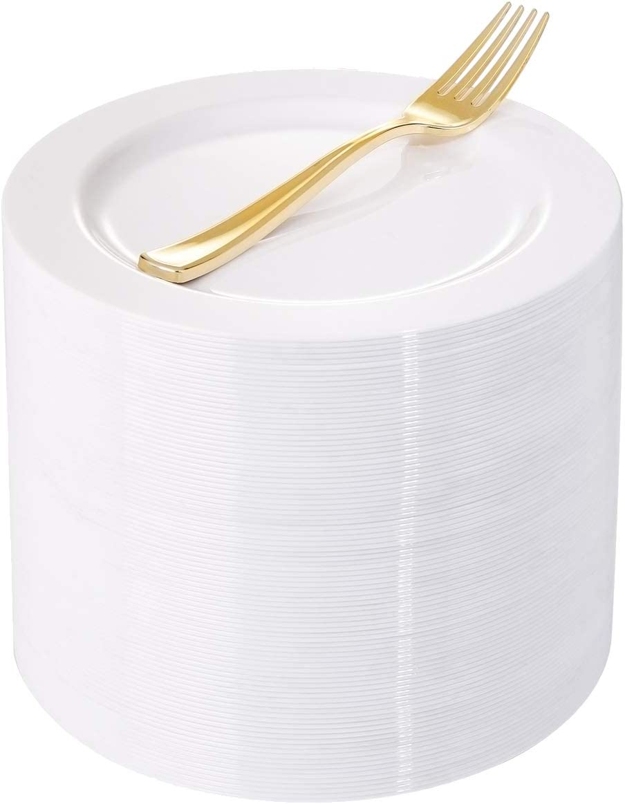 WELLIFE NEW 200 Pieces White Plastic with Dispos Max 60% OFF Gold Plates Dessert