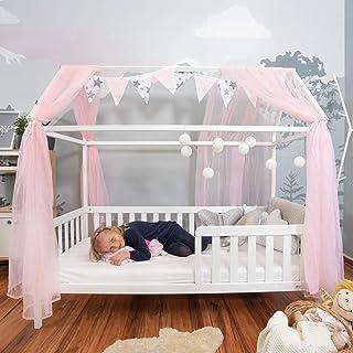 Alcube Hausbett 90x200 cm mit Rausfallschutz und Lattenrost in weiß Kinderbett 200x90 cm für Mädchen und Jungen