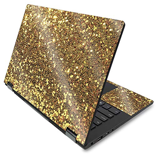MightySkins Glossy Glitter Skin for Lenovo Flex 14' (2019) - Gold Dazzle   Protective, Durable High-Gloss Glitter Finish   Easy to Apply, Remove, and Change Styles   Made in The USA