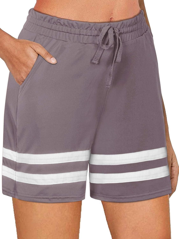 NIMIN Women's Athletic Workout Shorts Stretchy Bermuda Gym Running Yoga Sweat Shorts Lounge Shorts with Pockets