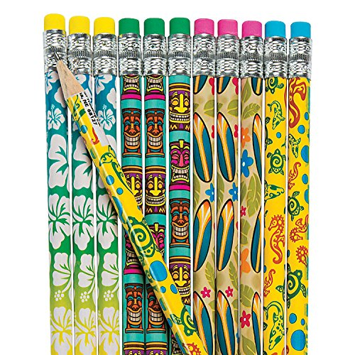 Fun Express - Luau Pencils - Stationery - Pencils - Pencils - Printed - 24 Pieces