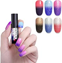 LILYCUTE 5ml Thermal Nail Gel Polish Glitter Color-changing Nail Art Gel Soak Off UV Gel Varnish 6 Colors