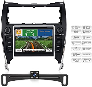Aimtom 2012-2014 Toyota Camry Indash Bluetooth GPS Navigation Receiver Car Radio with Backup Camera 8 Inch Touch Screen Head Unit Stereo Player Mp3 CD DVD Infotainment System Copyrighted iGo Primo Map