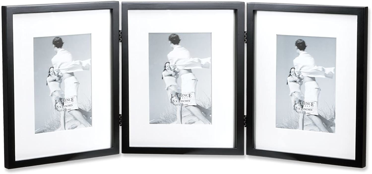 Lawrence Frames Black Wood 8 by 10-Inch Hinged Triple Picture Frame, Comes with Bevel Cut Mats for 5 by 7-Inch Photos