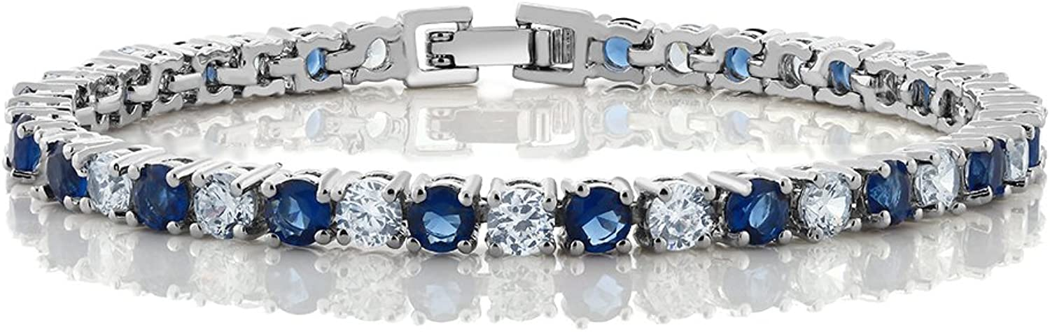 10.00 Ct Round Cut bluee Simulated Sapphire and Zirconia Tennis Bracelet 7
