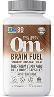 Om Brain Fuel Mushroom Capsules, Lions Mane, Reishi Blend plus Folate, Mental Clarity, Mushroom Supplement, 90 Count (30 D...