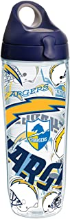 Tervis 1248210 NFL Los Angeles Chargers All Over Tumbler with Wrap and Navy with Gray Lid 24oz Water Bottle,  Clear