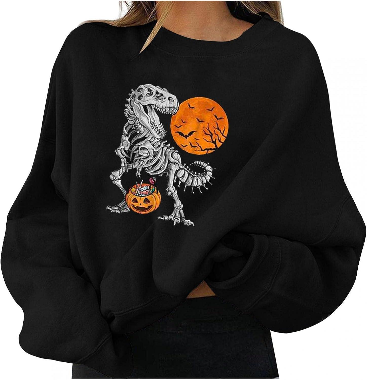 Eduavar Halloween Shirts for Women,Womens Funny Cute Skull Pumpkin Print Long Sleeve Round Neck Sweatshirt Pullover Tops