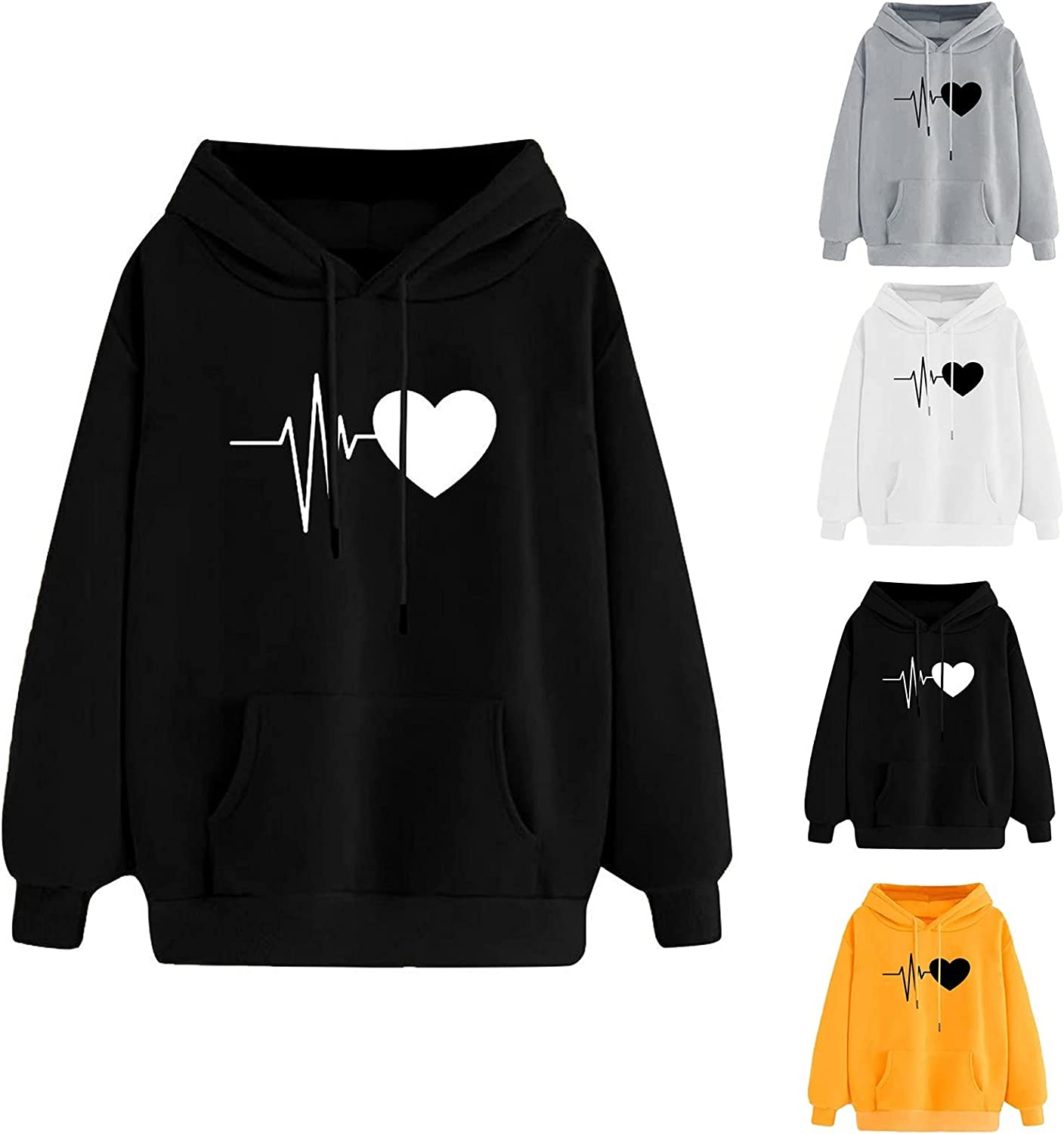 Hoodie for Women Funny Love Printing Sweatshirt Autumn Winter Pullover Solid Color Loose Comfortable Long Sleeve