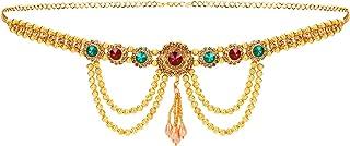 WomenSky Adjustable Golden Polish Pearl Layer Multicolour Stone Crystal Ottiyanam/Waistchain/Kamarband for Women and Girls...
