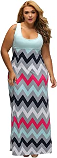 Women's Plus Size Scoop Neck Chevron Zig Zag Floor Maxi Dress