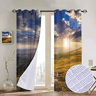 Nature Blackout curtains - gasket insulation Mountain Hills Landscape with Vibrant Sunlights on Meadow Misty Rural Panorama Blackout curtains for the living room W84 x L108 Inch Blue Amber Dust