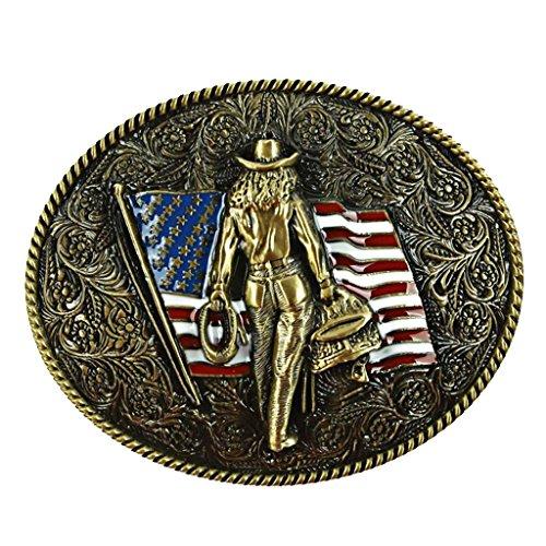 Sharplace Buckle Belt Boucle de Ceinture Style Western Cowboy Motif Chevalier Drapeau American Embellissement de Vêtement Cadeau Idéal pour Femme Homm