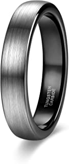 4mm 6mm 8mm Tungsten Rings for Men Women Engagement Wedding Band Brushed Black Comfort Fit Size 4-15