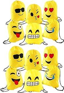 12pcs Encantador Emoji cordón Dibujos Animados Mochila Bolsas PE para cumpleaños niños y Adultos la Fiesta favorece la Bolsa, Rellenos Bolsas Fiesta