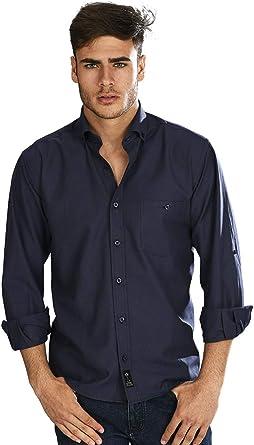 Camisa Oxford Manga Larga de Hombre en Marino - 2_S, Azul ...