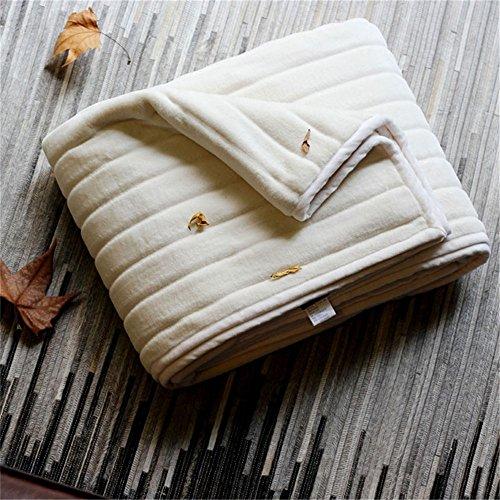 YFQ Weiße Einfache Breite Gestreifte Lederdecke Warme Und Bequeme Kristallfleece-Deckenabdeckung, Pflasterung Dual Use (Größe: 150X200cm)