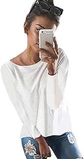 Minetom Mujeres Camiseta con Manga Larga Escotado por Detrás Camisa Blusa T-Shirt Blouses Pullover