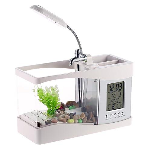 Anself Mini USB LCD aquarium pour poissons réservoir Horloge décoration de bureau