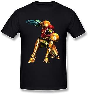 WENYU Men's Metroid Artwork Samus Low T-Shirt Black Short Sleeve