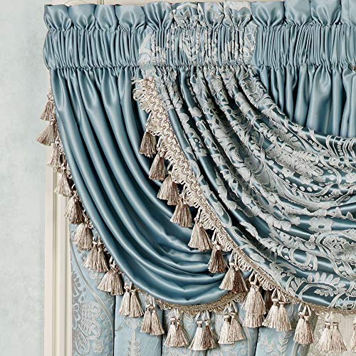Touch of Class Romantic Regency Solid Parisian Blue Window Valance Waterfall Solid 52 x 30