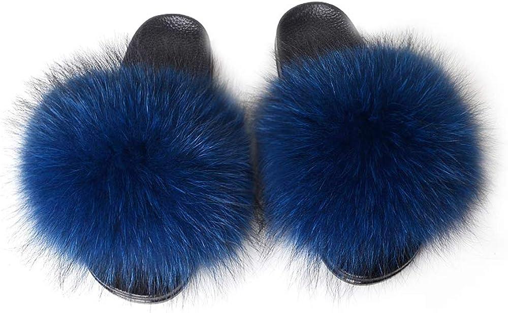 In Denver Mall a popularity YIJIARAN Womens Luxury Real Raccoon Fur S Slippers Sliders Furry