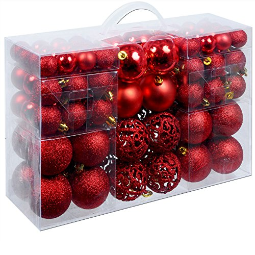 Deuba Weihnachtskugeln 100 Stück Rot - Christbaumkugeln Baumschmuck Weihnachtsbaumschmuck