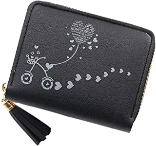 Han Shi Small Wallet for Women Flower Print Compact Bifold Pocket Wallet Mini Leather Zipper Coin Purse Card Holder