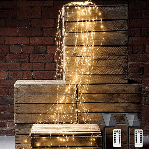 250 LED Solar Waterfall Fairy Lights 2 Pack Christmas String Lights with Remote Timer 8 Flashing Modes Waterproof Firefly Bunch Lights for Outdoor Holiday Party Decorations?Warm White?