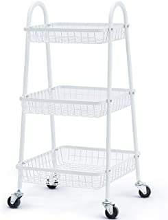 KINGRACK 3-Tier Rolling Cart, Metal Storage Cart with Large Baskets for Vegetables and Fruits, Trolley Organizer with Easy Rolling Wheels for Outdoor Plants Kitchen Home Bathroom, White
