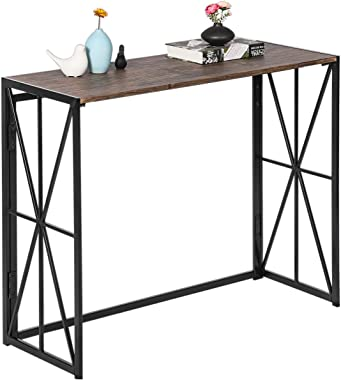 Console Sofa Table Folding Tall Wall Table for Entryway No-Assembly Living Room TV Entrance Table Kitchen Bar Table Industria