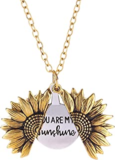 You are My Sunshine Necklace Sunflower Open Locket 14K Gold Plated Necklace Pendant Gifts for Women Girls