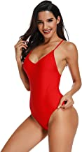 Women Sexy One Piece Swimsuit High Cut Backless Criss Cross Low Back Bathing Suit