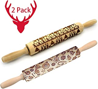 Christmas Wooden Rolling Pins,Engraved Embossing Rolling Pin with Christmas Deer Pattern for Baking Embossed Cookies,Rolling Pin Kitchen Tool 14 inch (2 pack)