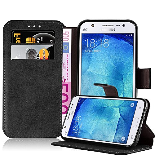 Cadorabo Funda para Samsung Galaxy J5 2015 (5) Funda de Cuero Sintético Retro en Negro Apagado – Cubierta Protectora Estilo Libro con Cierre Magnético, Tarjetero y Función de Suporte – Etui Caja