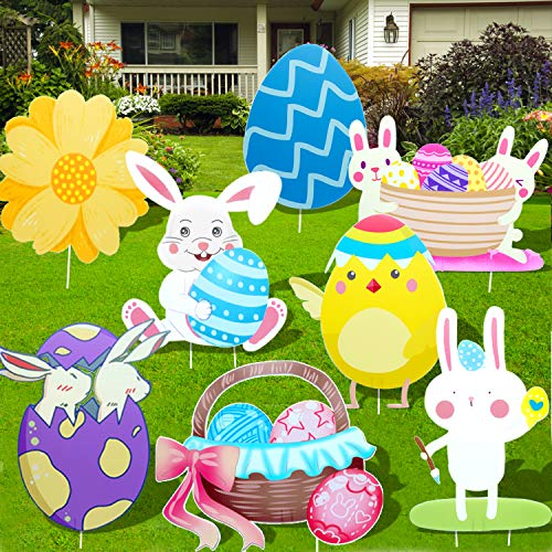 8PC Easter Outdoor Decorations Easter Yard Stakes Yard Signs Outdoor Decal Yard Signs for Easter Yard Lawn signs Party Decorations Rabbits Chicken Flower Egg Basket Waterproof Easter Garden Decals