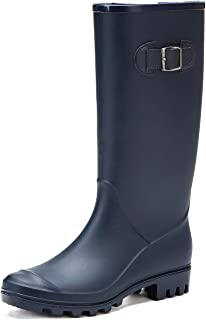 DKSUKO Rain Boots for Women Waterproof Elastic Wellington Boots