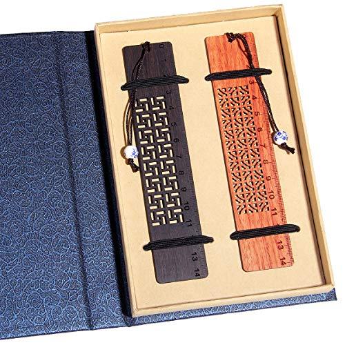 El juego de caja de regalo de marcapáginas de madera hecho a mano, marcapáginas con colgante de porcelana azul y blanca, es un regalo único para profesores, estudiantes, hombres y mujeres.
