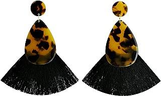 Acrylic Teardrop Statement Earrings Bohemian Big Long Chandelier Earring Tassel Fan Shape Dangle Earring for Women